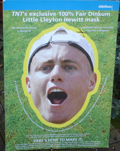 TNT's Lleyton Hewitt mask from Wimbledon 2003